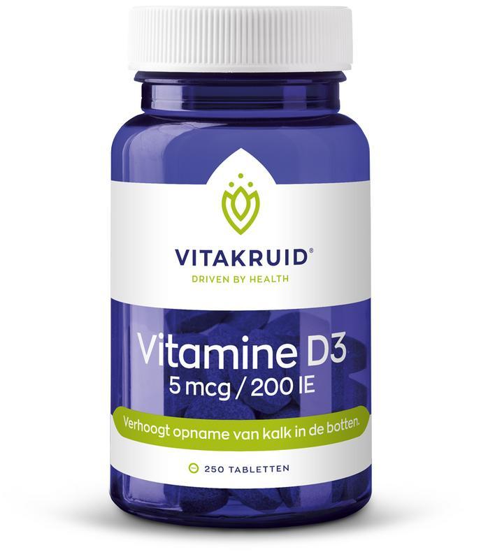 Vitamine D3 5 mcg 250 tabletten Vitakruid