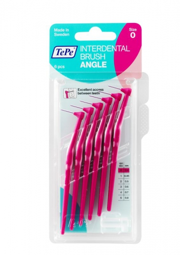 Interdental ragers Angle 0.4mm 6st roze TePe