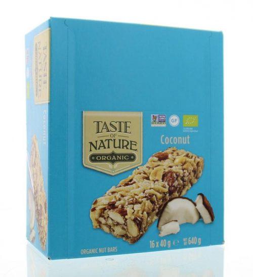 Coconut granenreep 16x40 gram Taste Of Nature