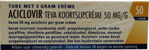 Aciclovir creme 50 mg/g 3 gram Teva